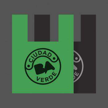 Bolsas Camiseta Negras y Verdes impresas Ciudad Verde